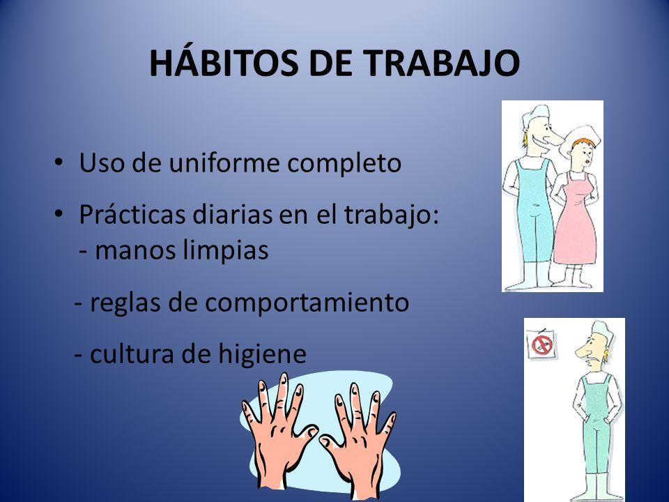HÁBITOS DE TRABAJO Uso de uniforme completo Prácticas diarias en el trabajo: - manos limpias - reglas de comportamiento - cultura de higiene