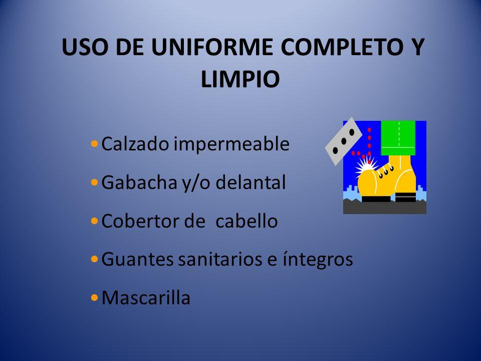 USO DE UNIFORME COMPLETO Y LIMPIO Calzado impermeable Gabacha y/o delantal Cobertor de cabello Guantes sanitarios e íntegros Mascarilla