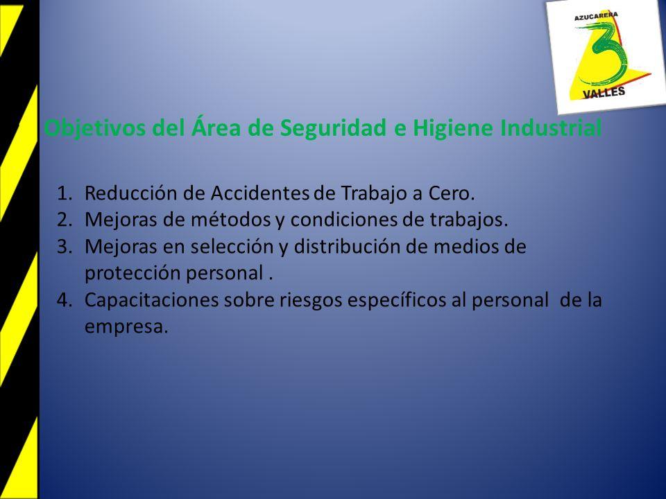 1.Reducción de Accidentes de Trabajo a Cero. 2.Mejoras de métodos y condiciones de trabajos. 3.Mejoras en selección y distribución de medios de protec
