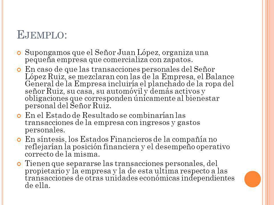 E JEMPLO : Supongamos que el Señor Juan López, organiza una pequeña empresa que comercializa con zapatos.