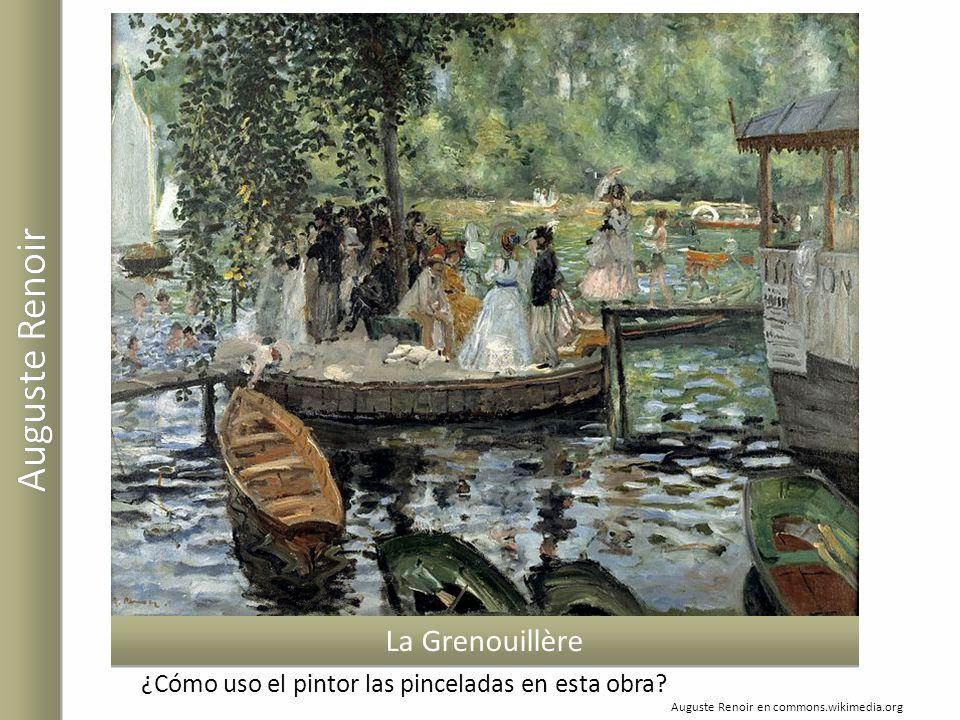 Auguste Renoir en commons.wikimedia.org La Grenouillère ¿Cómo uso el pintor las pinceladas en esta obra?