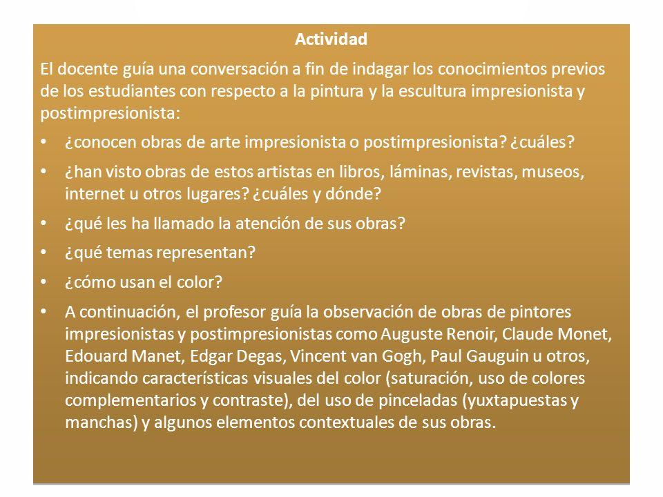 Características generales del Impresionismo I.La teoría de los Colores: Primarios y Secundarios Prim.