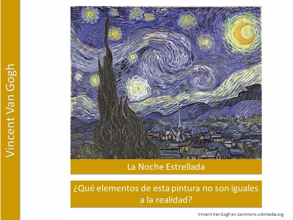 La Noche Estrellada ¿Qué elementos de esta pintura no son iguales a la realidad.