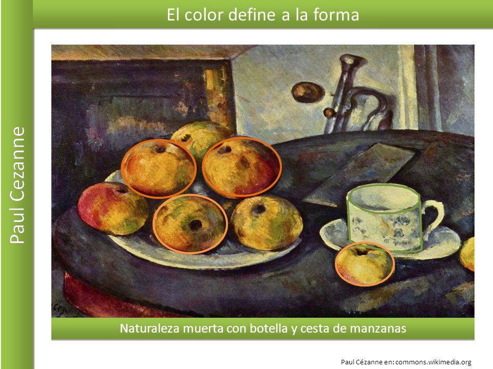 El color define a la forma Naturaleza muerta con botella y cesta de manzanas Paul Cézanne en: commons.wikimedia.org