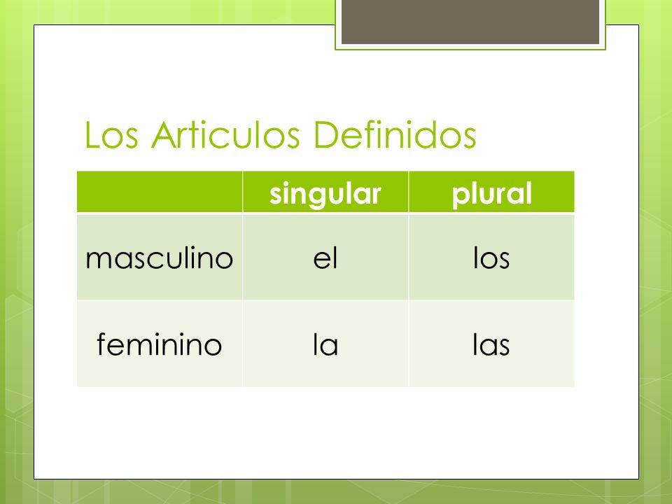Los Articulos Indefinidos singularplural masculinoununos femininounaunas
