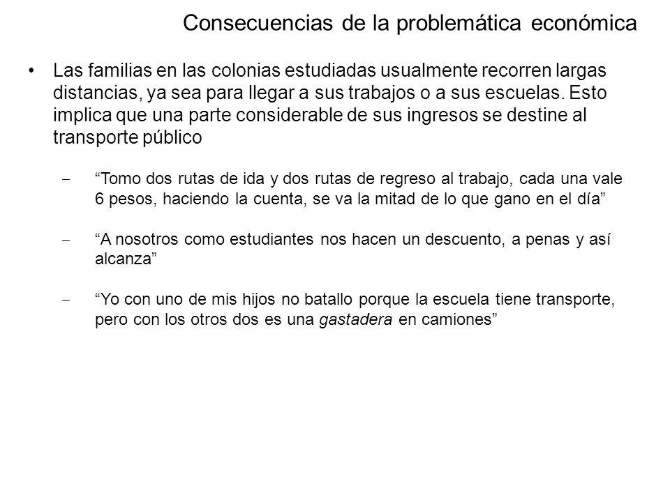 Dirección General de Opinión Pública Consecuencias de la problemática económica Las familias en las colonias estudiadas usualmente recorren largas distancias, ya sea para llegar a sus trabajos o a sus escuelas.