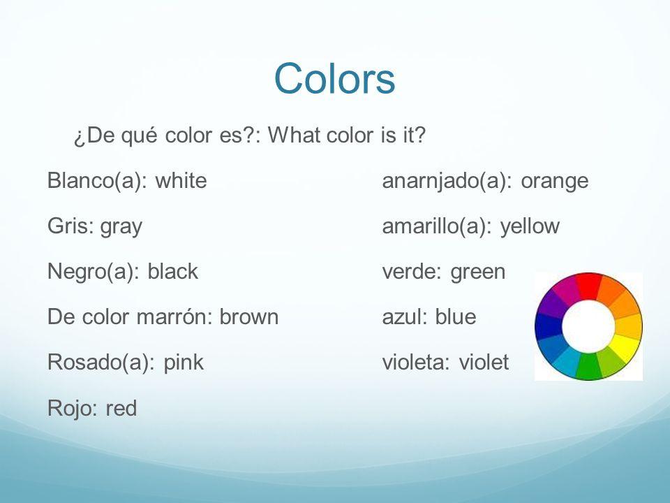 Colors ¿De qué color es?: What color is it.