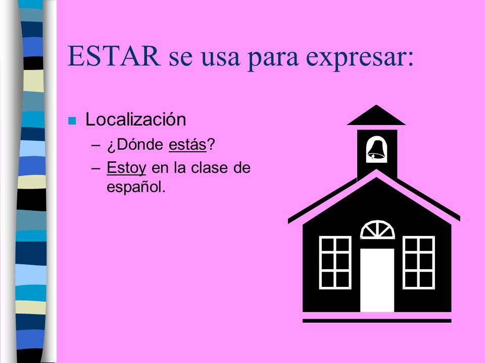 ESTAR se usa para expresar: n Localización –¿Dónde estás? –Estoy en la clase de español.