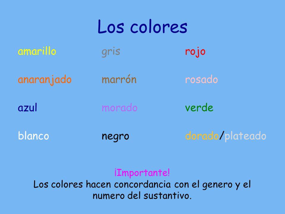 Concordancia Debe cambiar el color según el genero y el numero.