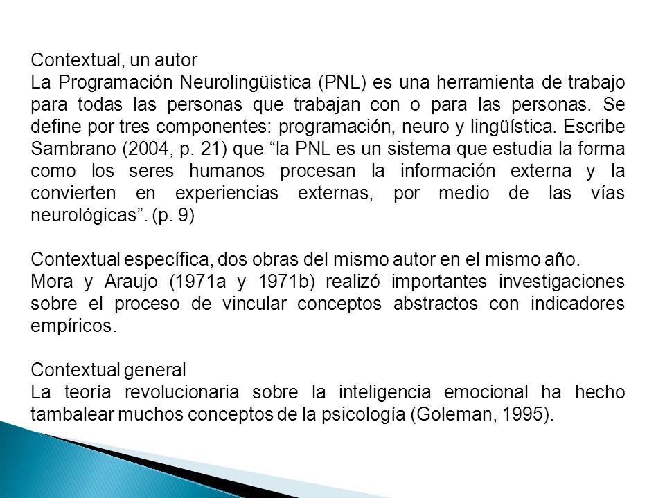 Contextual, un autor La Programación Neurolingüistica (PNL) es una herramienta de trabajo para todas las personas que trabajan con o para las personas
