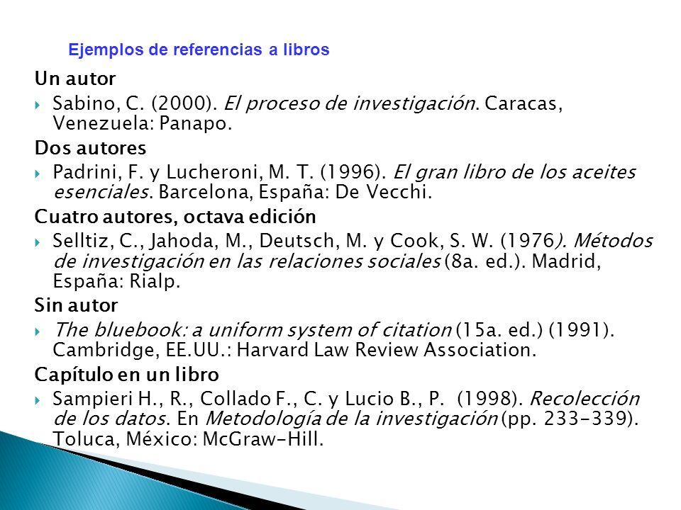 Un autor Sabino, C. (2000). El proceso de investigación. Caracas, Venezuela: Panapo. Dos autores Padrini, F. y Lucheroni, M. T. (1996). El gran libro