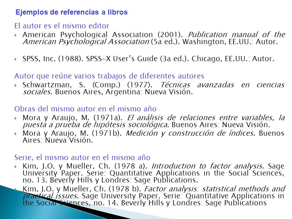 El autor es el mismo editor American Psychological Association (2001). Publication manual of the American Psychological Association (5a ed.). Washingt