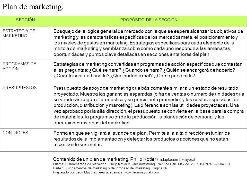 SECCIÓNPROPÓSITO DE LA SECCIÓN ESTRATEGIA DE MARKETING Bosquejo de la lógica general de mercado con la que se espera alcanzar los objetivos de marketing y las características específicas de los mercados meta, el posicionamiento y los niveles de gastos en marketing.