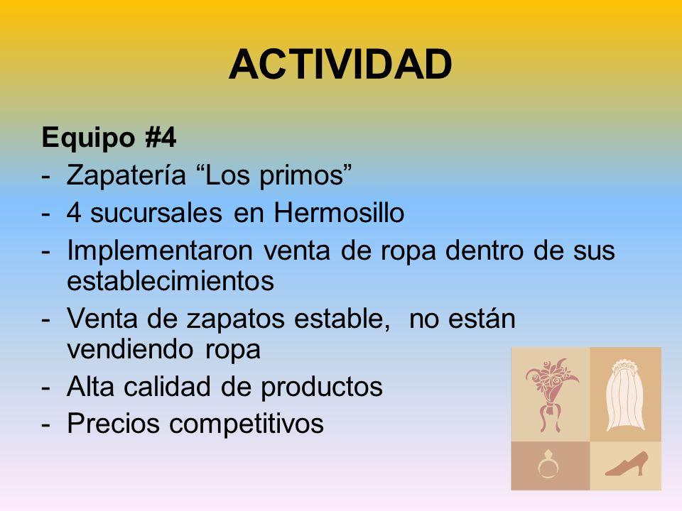 ACTIVIDAD Equipo #4 -Zapatería Los primos -4 sucursales en Hermosillo -Implementaron venta de ropa dentro de sus establecimientos -Venta de zapatos estable, no están vendiendo ropa -Alta calidad de productos -Precios competitivos