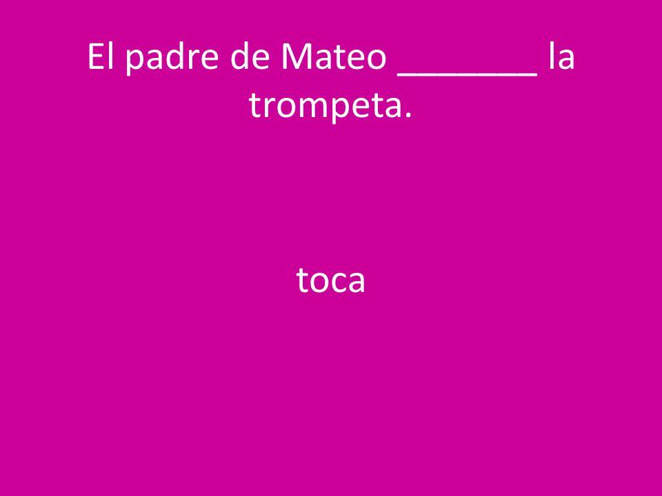 El padre de Mateo _______ la trompeta. toca