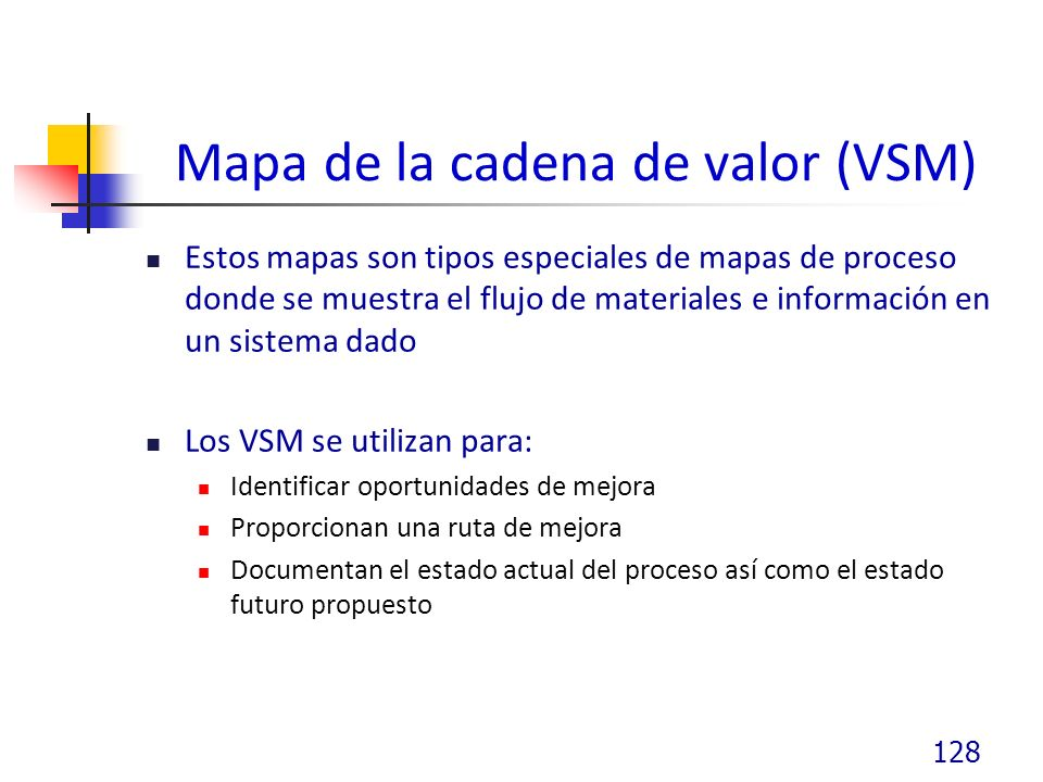 Mapa de la cadena de valor (VSM) Estos mapas son tipos especiales de mapas de proceso donde se muestra el flujo de materiales e información en un sistema dado Los VSM se utilizan para: Identificar oportunidades de mejora Proporcionan una ruta de mejora Documentan el estado actual del proceso así como el estado futuro propuesto 128