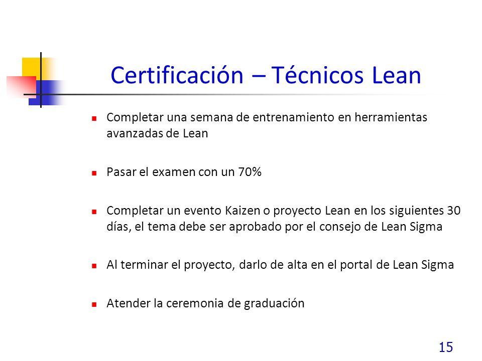 Certificación – Técnicos Lean Completar una semana de entrenamiento en herramientas avanzadas de Lean Pasar el examen con un 70% Completar un evento Kaizen o proyecto Lean en los siguientes 30 días, el tema debe ser aprobado por el consejo de Lean Sigma Al terminar el proyecto, darlo de alta en el portal de Lean Sigma Atender la ceremonia de graduación 15
