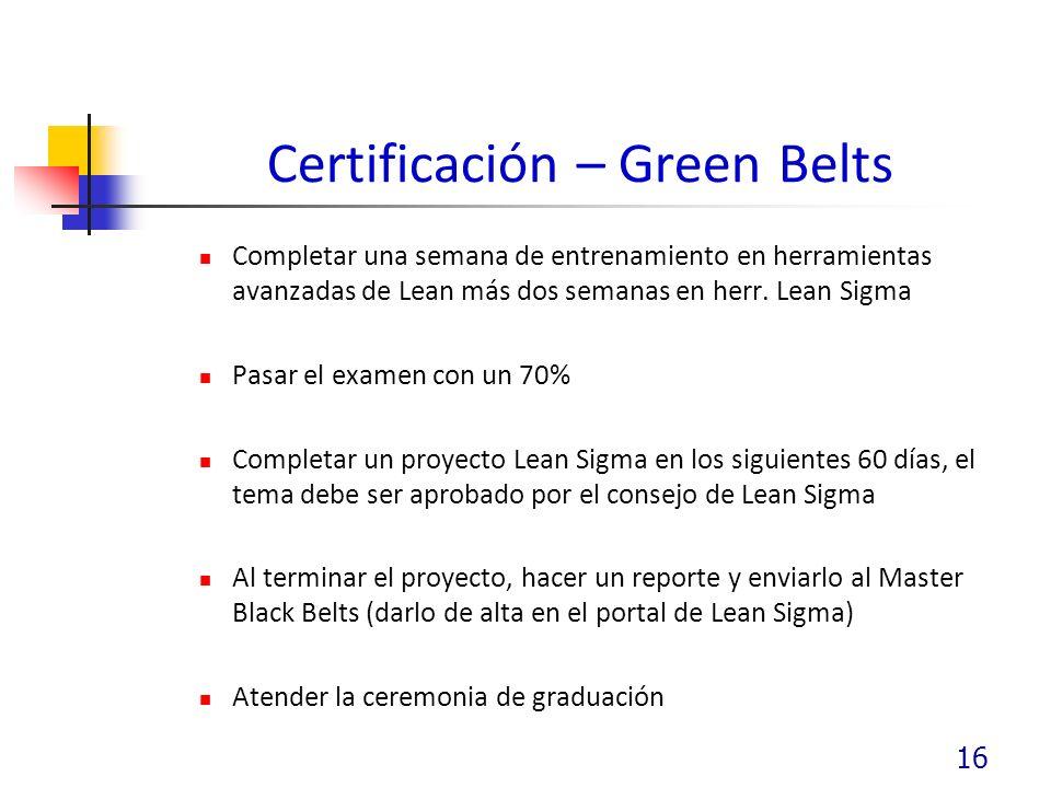 Certificación – Green Belts Completar una semana de entrenamiento en herramientas avanzadas de Lean más dos semanas en herr.