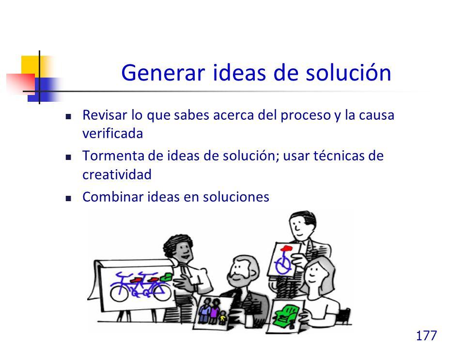 Generar ideas de solución Revisar lo que sabes acerca del proceso y la causa verificada Tormenta de ideas de solución; usar técnicas de creatividad Combinar ideas en soluciones 177