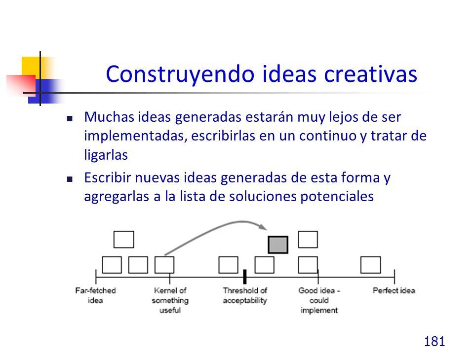 Construyendo ideas creativas Muchas ideas generadas estarán muy lejos de ser implementadas, escribirlas en un continuo y tratar de ligarlas Escribir nuevas ideas generadas de esta forma y agregarlas a la lista de soluciones potenciales 181