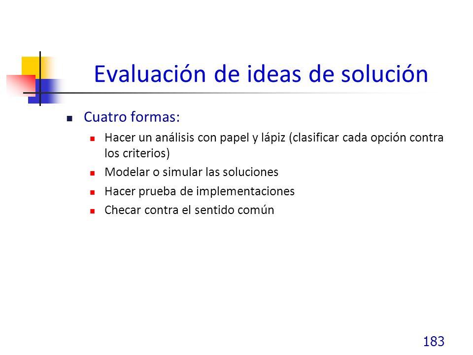 Evaluación de ideas de solución Cuatro formas: Hacer un análisis con papel y lápiz (clasificar cada opción contra los criterios) Modelar o simular las soluciones Hacer prueba de implementaciones Checar contra el sentido común 183