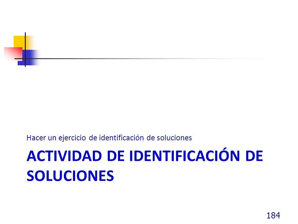 ACTIVIDAD DE IDENTIFICACIÓN DE SOLUCIONES Hacer un ejercicio de identificación de soluciones 184