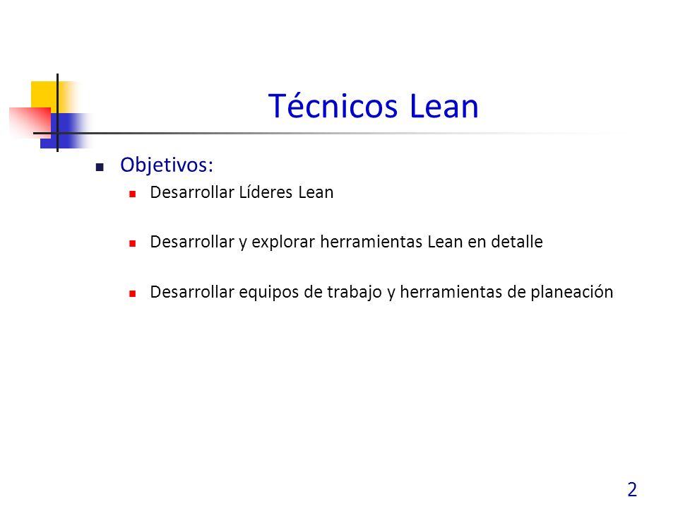 2 Técnicos Lean Objetivos: Desarrollar Líderes Lean Desarrollar y explorar herramientas Lean en detalle Desarrollar equipos de trabajo y herramientas de planeación