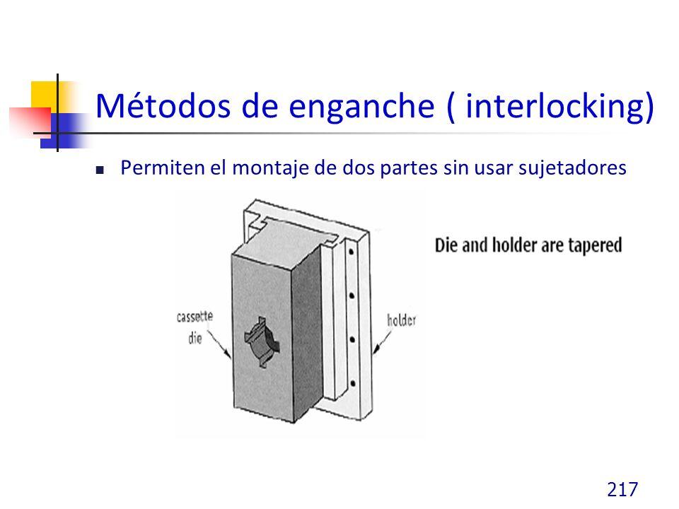 Métodos de enganche ( interlocking) Permiten el montaje de dos partes sin usar sujetadores 217