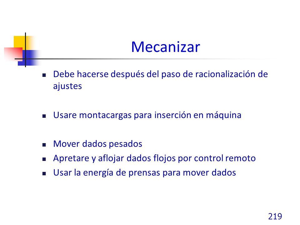 Mecanizar Debe hacerse después del paso de racionalización de ajustes Usare montacargas para inserción en máquina Mover dados pesados Apretare y aflojar dados flojos por control remoto Usar la energía de prensas para mover dados 219