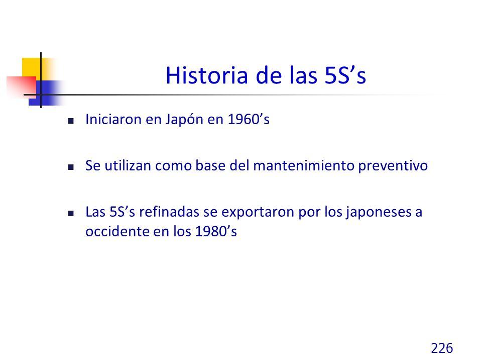 Historia de las 5Ss Iniciaron en Japón en 1960s Se utilizan como base del mantenimiento preventivo Las 5Ss refinadas se exportaron por los japoneses a occidente en los 1980s 226