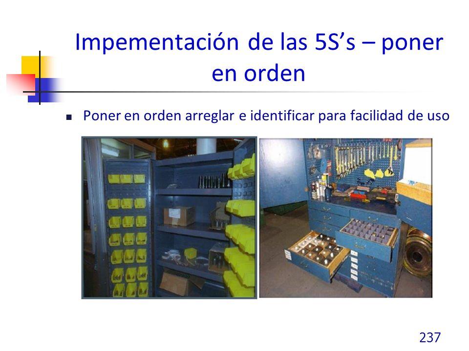 Impementación de las 5Ss – poner en orden Poner en orden arreglar e identificar para facilidad de uso 237