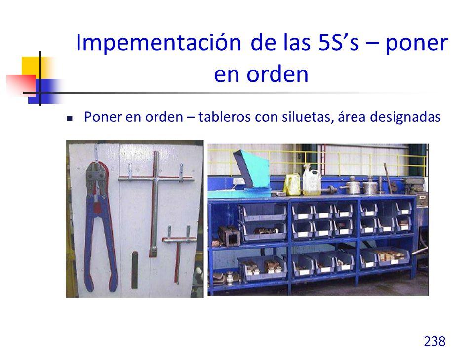 Impementación de las 5Ss – poner en orden Poner en orden – tableros con siluetas, área designadas 238