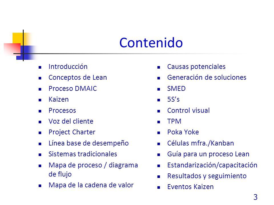 Contenido Introducción Conceptos de Lean Proceso DMAIC Kaizen Procesos Voz del cliente Project Charter Línea base de desempeño Sistemas tradicionales Mapa de proceso / diagrama de flujo Mapa de la cadena de valor Causas potenciales Generación de soluciones SMED 5Ss Control visual TPM Poka Yoke Células mfra./Kanban Guía para un proceso Lean Estandarización/capacitación Resultados y seguimiento Eventos Kaizen 3