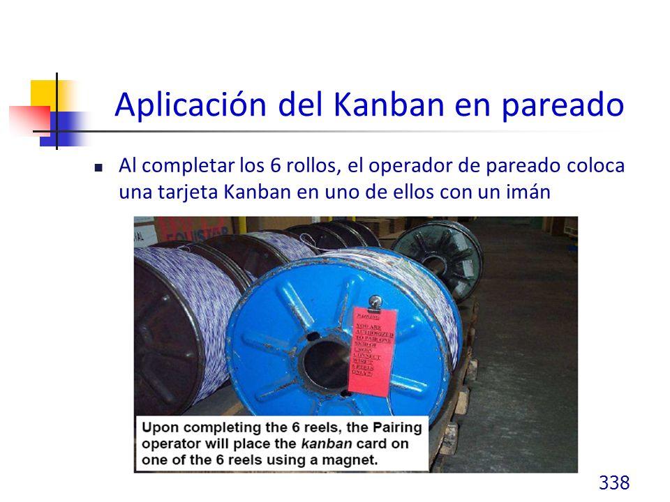 Aplicación del Kanban en pareado Al completar los 6 rollos, el operador de pareado coloca una tarjeta Kanban en uno de ellos con un imán 338