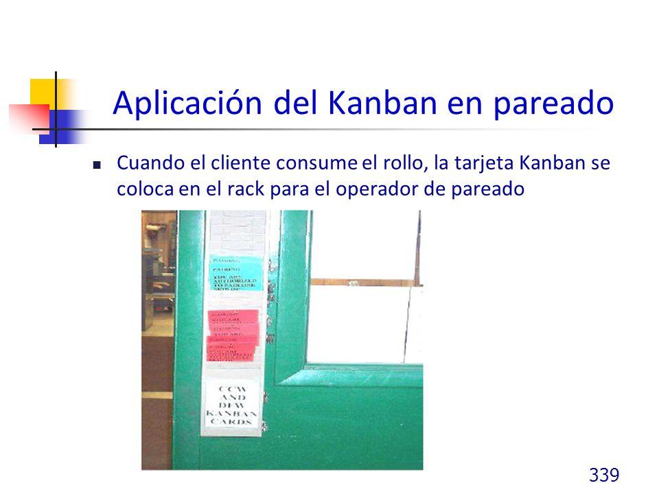 Aplicación del Kanban en pareado Cuando el cliente consume el rollo, la tarjeta Kanban se coloca en el rack para el operador de pareado 339