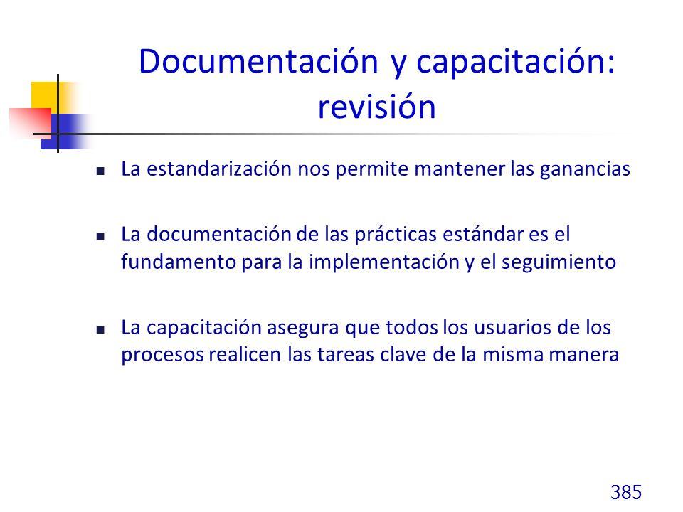 Documentación y capacitación: revisión La estandarización nos permite mantener las ganancias La documentación de las prácticas estándar es el fundamento para la implementación y el seguimiento La capacitación asegura que todos los usuarios de los procesos realicen las tareas clave de la misma manera 385
