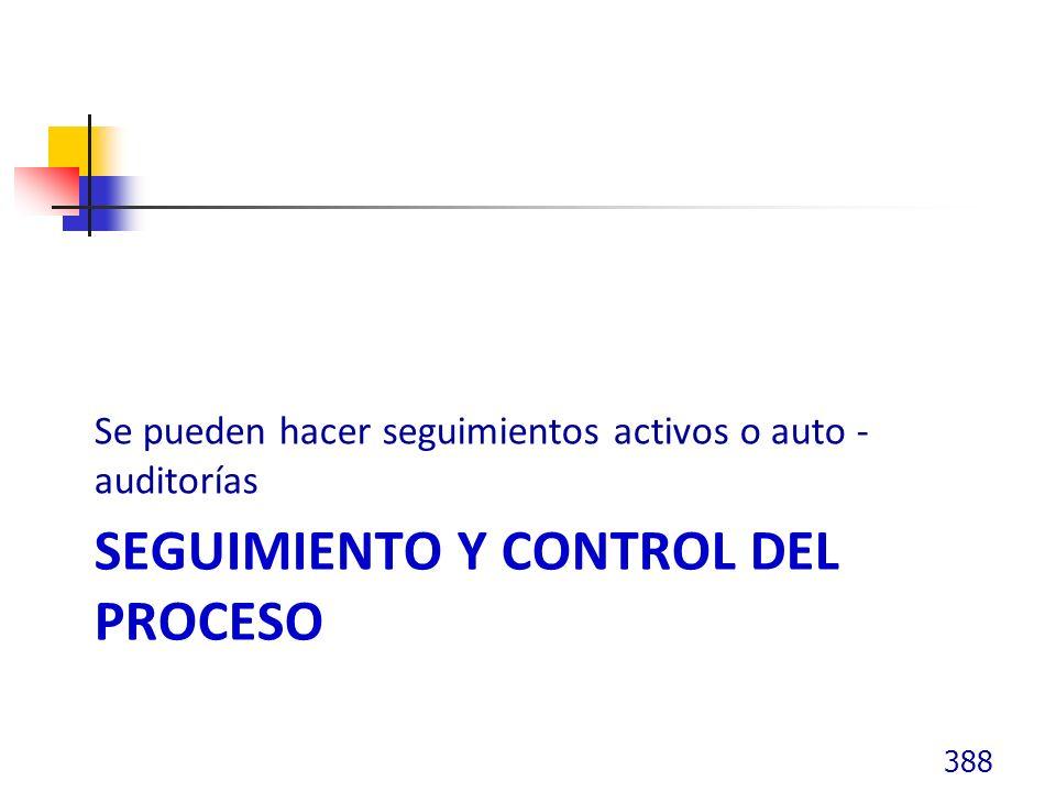 SEGUIMIENTO Y CONTROL DEL PROCESO Se pueden hacer seguimientos activos o auto - auditorías 388
