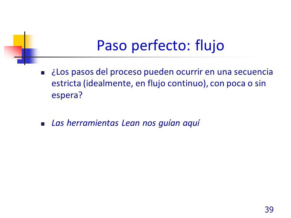 Paso perfecto: flujo ¿Los pasos del proceso pueden ocurrir en una secuencia estricta (idealmente, en flujo continuo), con poca o sin espera.
