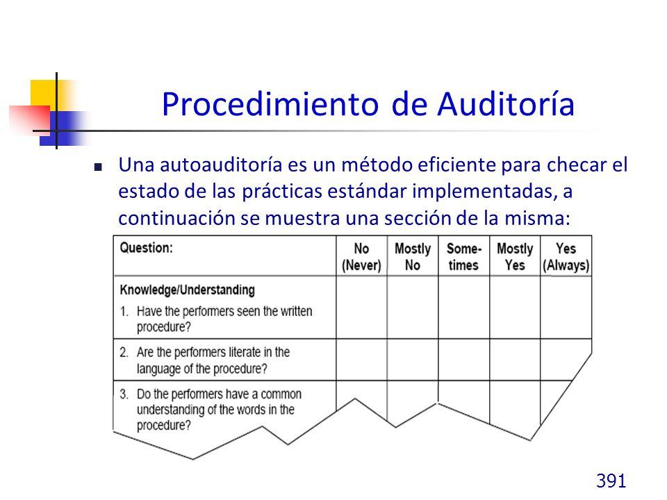 Procedimiento de Auditoría Una autoauditoría es un método eficiente para checar el estado de las prácticas estándar implementadas, a continuación se muestra una sección de la misma: 391