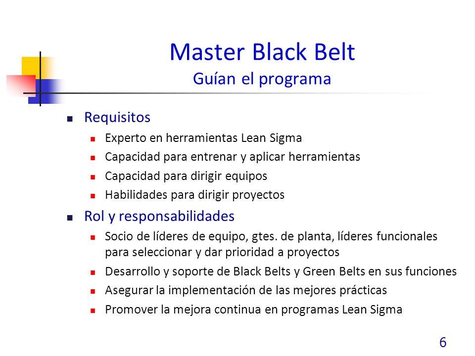 Master Black Belt Guían el programa Requisitos Experto en herramientas Lean Sigma Capacidad para entrenar y aplicar herramientas Capacidad para dirigir equipos Habilidades para dirigir proyectos Rol y responsabilidades Socio de líderes de equipo, gtes.