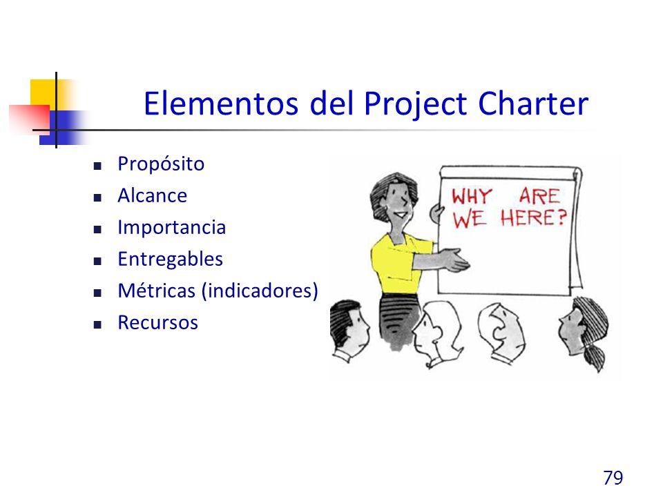 Elementos del Project Charter Propósito Alcance Importancia Entregables Métricas (indicadores) Recursos 79