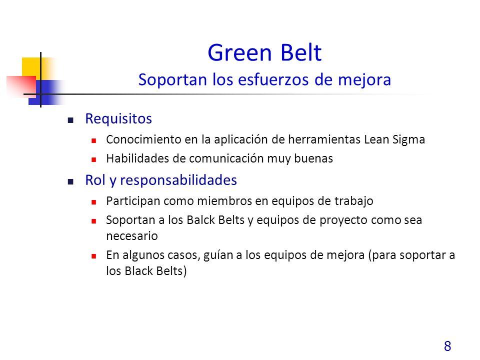 Green Belt Soportan los esfuerzos de mejora Requisitos Conocimiento en la aplicación de herramientas Lean Sigma Habilidades de comunicación muy buenas Rol y responsabilidades Participan como miembros en equipos de trabajo Soportan a los Balck Belts y equipos de proyecto como sea necesario En algunos casos, guían a los equipos de mejora (para soportar a los Black Belts) 8