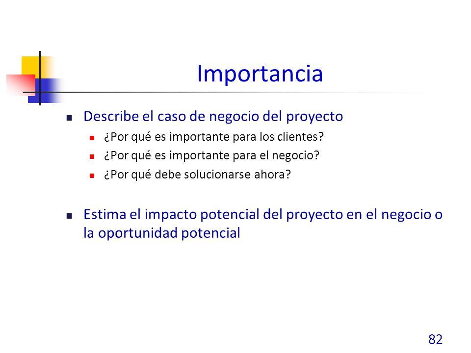Importancia Describe el caso de negocio del proyecto ¿Por qué es importante para los clientes.