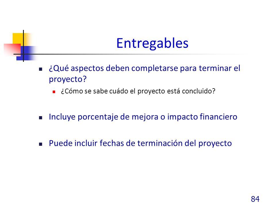 Entregables ¿Qué aspectos deben completarse para terminar el proyecto.