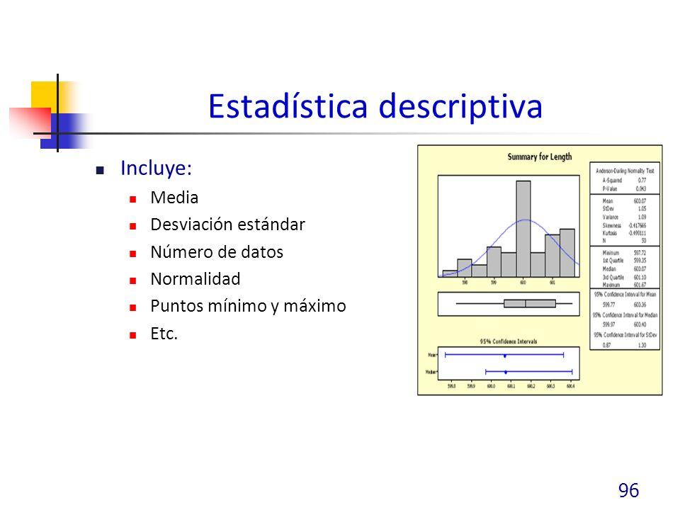 Estadística descriptiva Incluye: Media Desviación estándar Número de datos Normalidad Puntos mínimo y máximo Etc.