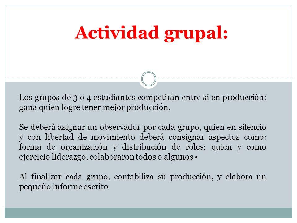 Actividad grupal: Los grupos de 3 o 4 estudiantes competirán entre si en producción: gana quien logre tener mejor producción. Se deberá asignar un obs
