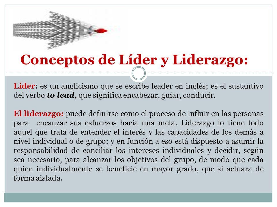 Conceptos de Líder y Liderazgo: Líder: es un anglicismo que se escribe leader en inglés; es el sustantivo del verbo to lead, que significa encabezar, guiar, conducir.
