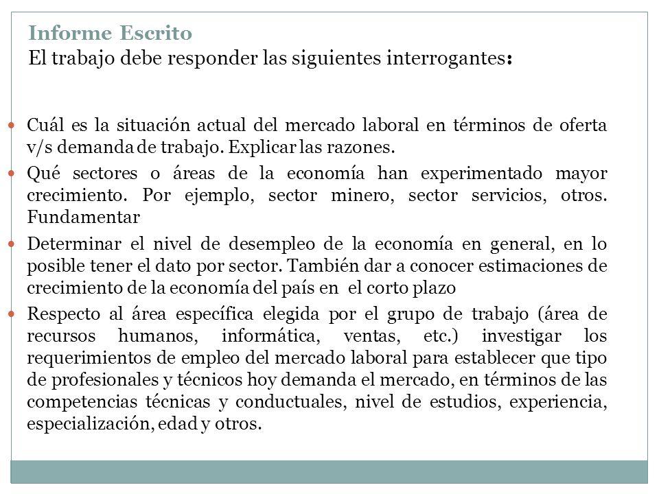 Informe Escrito El trabajo debe responder las siguientes interrogantes: Cuál es la situación actual del mercado laboral en términos de oferta v/s dema
