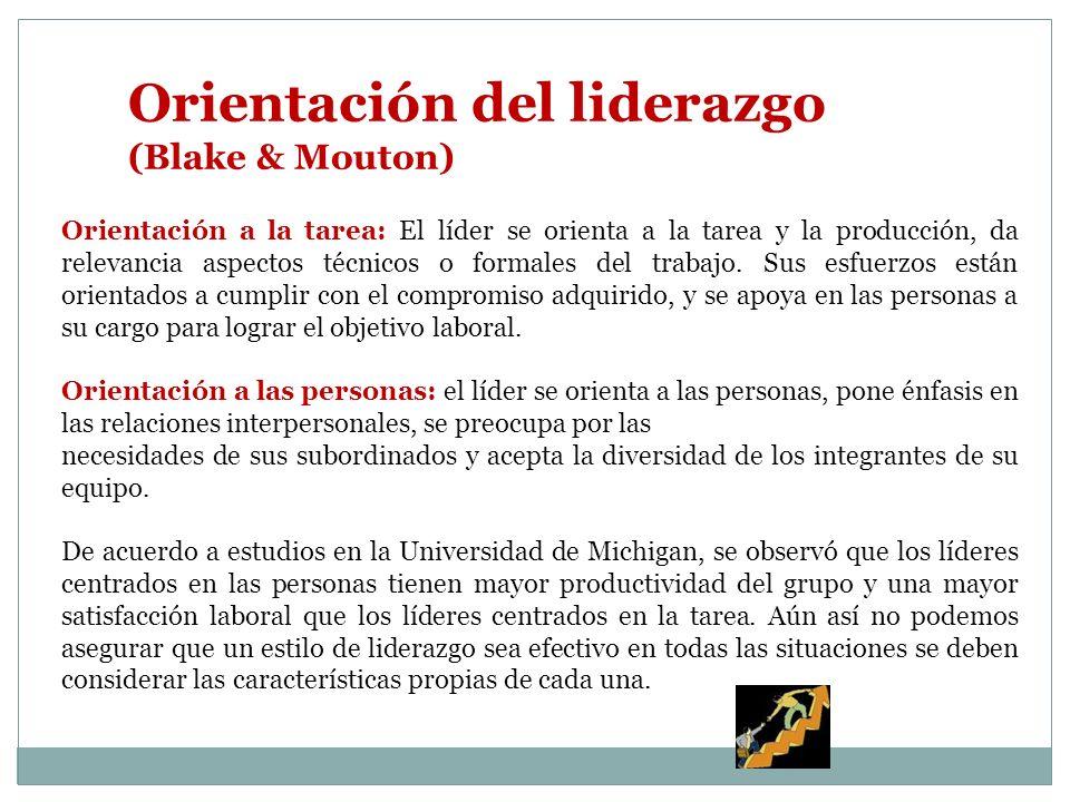 Orientación del liderazgo (Blake & Mouton) Orientación a la tarea: El líder se orienta a la tarea y la producción, da relevancia aspectos técnicos o formales del trabajo.