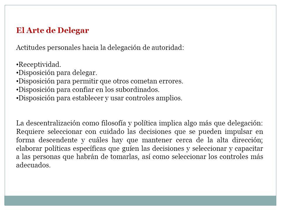 El Arte de Delegar Actitudes personales hacia la delegación de autoridad: Receptividad. Disposición para delegar. Disposición para permitir que otros
